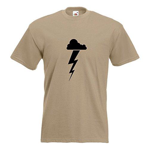KIWISTAR - Gewitterwolke Blitz T-Shirt in 15 verschiedenen Farben - Herren Funshirt bedruckt Design Sprüche Spruch Motive Oberteil Baumwolle Print Größe S M L XL XXL Khaki