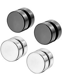 Magnetico Pendientes - SODIAL(R)Acero Inoxidable Pendientes Enchufe Expander No Atravesar Cuerpo Joyas Joyeria Magnetico Hombre,Mujer (Plata, Negro, 2 pares 8mm)