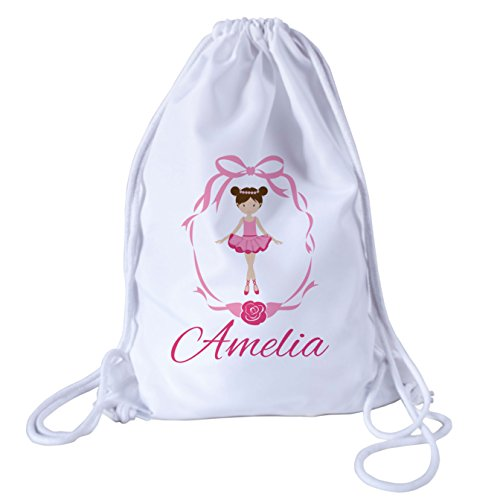 Personalised Kids Ballet Theme Drawstring Swimming, School, PE Bag For Girls by The Supreme Gift Company