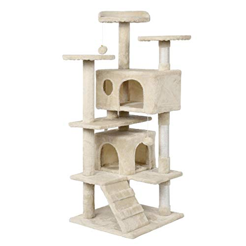 Yaheetech Tiragraffi Albero per Gatti Piccolo Elegante con 2 Palle Graffiattoio in Corde di Sisal Giocattolo Giochi Gatto Antiribaltamento Beige