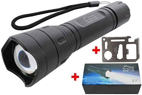 aschenlampe + Kostenloses 14 in 1 Werkzeug - Die Neueste Superhelle LED Technologie - 300 Metern - Zoom - 5 Funktionen - Gehäuse aus Aluminium für die Luft - Rutschfest - Schwarz ()
