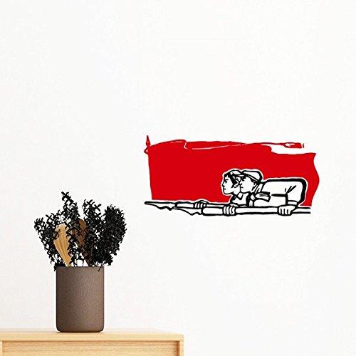 Peking-stift (DIYthinker Red Flag Mann eine Frau Stift Illustration entfernbarer Wand-Aufkleber Wand-DIY Tapete Vinyl Room Home Decor Aufkleber 35Cm)