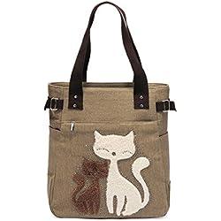 Bolso de hombro de las mujeres con el bolso de compras lindo del ocio de la lona del gato por KAUKKO (Caqui)