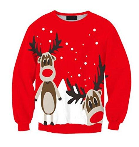 AILIENT Sweatshirt Elk de Noël Imprimé Femme Manches Longues Col Rond Décontractée Classique Tops à Sweats Casual Pullover Christmas Red Two