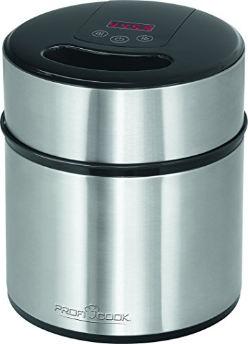 Profi Cook PC-ICM 1140 Eismaschine 3in1 für Speiseeis, Frozen Joghurt und Sorbet für bis zu 1,8 L Speiseeis, LED-Display, edelstahl
