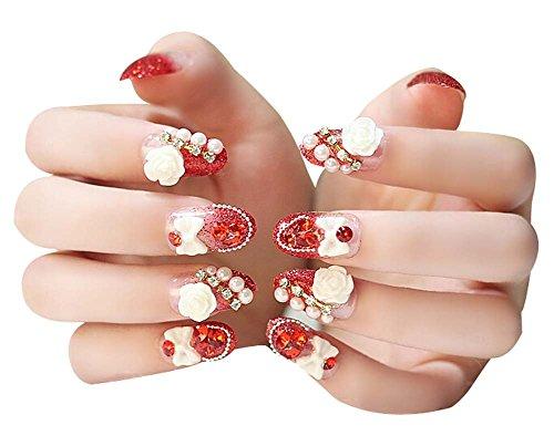 2 Boîtes(48Pièces) 3D Cristal mariage faux ongle/Classique style faux ongle