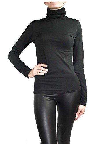 Muse - Maglia a collo alto da donna a maniche lunghe, elasticizzata, termica Nero