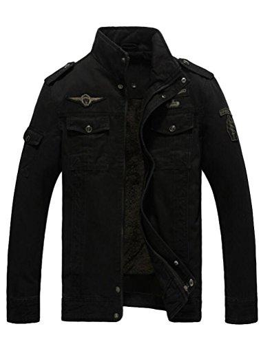MatchLife Herren Stehkragen Jacket Reißverschluss Mnatel Style1-Fleece-Schwarz