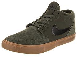 Nike Men's Sb Portmore Ii Solar Mid Skateboarding Shoes, Green (Sequoiablackgum Med Brown 300), 10 Uk