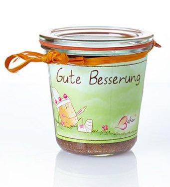 """Fertig gebackener Bakari Schokoladen Kuchen im Weck Glas. Schoko Geschenk im Weckglas. Motiv """"Gute Besserung"""". 130g"""
