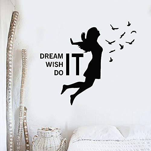 wukongsun Dream Wishes Do Inspirational Decalcomania da Muro Camera da Letto Ragazza Uccello Adesivo Interno di casa Soggiorno Murale Nero 65X57 CM