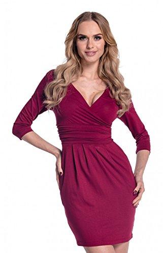Glamour Empire. Donna Vestito a tulipano tasca. Abito jersey con piegoline. 236 Cremisi