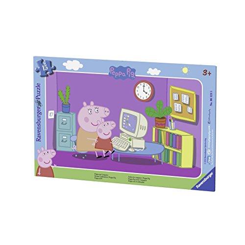 Ravensburger Puzzle–06123–Peppa Schwein–15-TLG.–Vor dem PC