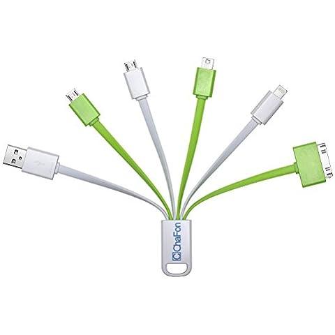 Chafon Últimas Prima 6en 1USB Cable de carga rápida para iPhone 6plus 65S 5C 5, iPad Air Air2Mini Mini2Mini3, ipad 4th Gen, iPod Touch 5th Gen, iPod Nano 7th Gen, Samsung Galaxy S5S4S3S2Nota4Note3Note2atención Tab3Tab2, otros Android y Windows Smartphones/Tablets, compatible con la mayoría de los bancos de energía externa–carga hasta 5dispositivos al mismo tiempo.