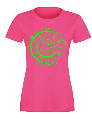 Sternzeichen Widder - Astrologie - Damen Rundhals T-Shirt Fuchsia/Neongruen