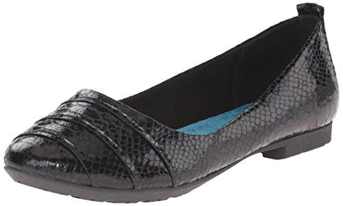Blowfish Rukus Femmes Cuir Chaussure Plate Black Metallic Snakepit