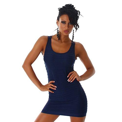 Jela London Signore vestono mini abito da cocktail party Longtop merletto del ricamo girocollo sostegno Longshirt Blu