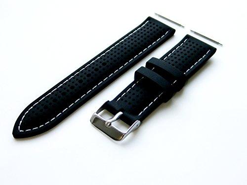 20mm - Gummi Ergonomisch Ersatzband Armband mit Pins/Stifte und Edelstahl-Wölbung für Luxus, Sport und Beiläufige Armbanduhren (B-MHLS)