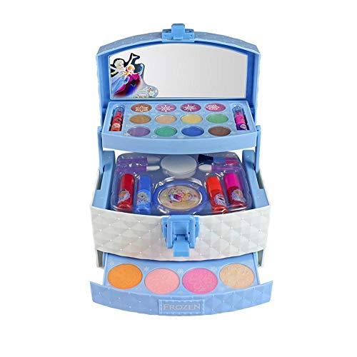 Glory.D 32Pcs Disney Ice Princess Makeup Case Spielzeug Set - Mini tragbare Spielhaus Kosmetik Spielzeug - Lipgloss Blush Brush Lidschatten Nagellack gepressten Pulver Lippenstift