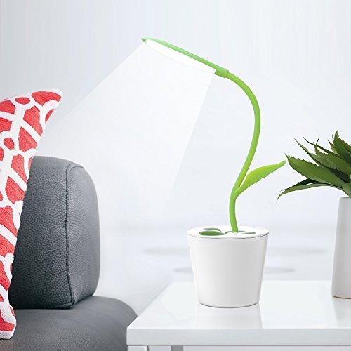 iEGrow dimmbare LED Schreibtischlampe Tischleuchte Augenschutz, 1W 3 Helligkeitsstufen dimmbar, Berührungsempfindlich, Flexibel Leselampe (Grün)