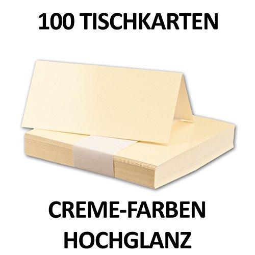 100 Stück // Hochglanz Tischkarten Creme-Elfenbein // Größe: 100 x 90 mm (gefaltet 100 x 45 mm) // 250 g/qm // Sehr schwere und stabile Qualität // Aus der Serie FarbenFroh von NEUSER! (Nix Creme)