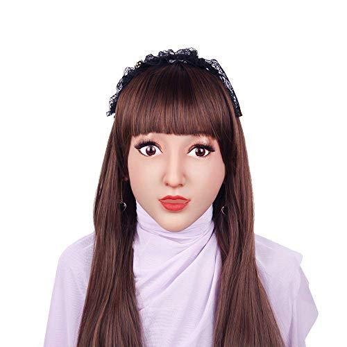 Queen Kostüm Zubehör Beauty - SXFYMWY Realistische Silikon Gesichtsmaske Transgender Transvestite Drag Queen Karneval Cosplay Halloween Masken,Bronze
