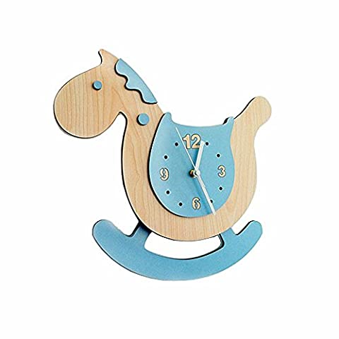 Jinberry (38 cm) Silent Sweep Cute Wooden Rocking Horse Wall Clock with Swinging Pendulum / Non Ticking Digital Premium Healthy E1 Grade MDF Quartz Clock - Blue