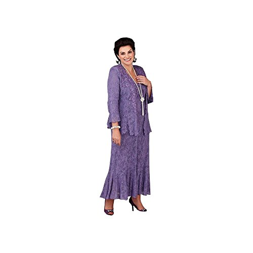 dressvip Round Neck Purple Lace 3/4 Sleeves Mother of The Bride Suits for Women Test