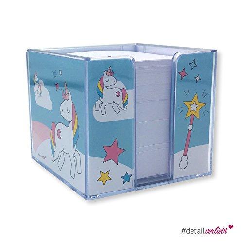 Detailverliebt! Süße Einhorn Zettelbox mit ca. 800 Blatt gefüllt, dv_095 - **Passt ideal zu unseren Schreibtischunterlagen** | Einhorn Schreibtisch Notiz Notizzettel Schreiben Notes #detailverliebt