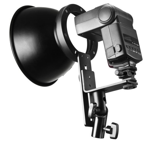 Walimex Glanzreflektor für Kompaktblitze mit Halterung für Systemblitze