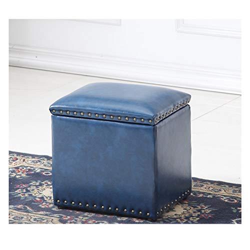 HODUXYME Möbel Osmanischer Aufbewahrungshocker, Amerikanischer Top Oil Wax Cipri Retro Lederhocker, Soft Wear Resistant Massivholzrahmen, Kinderspielzeugkiste Fußhocker,StyleG -