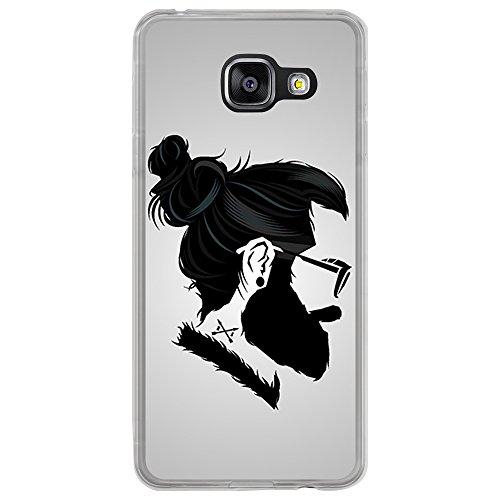 BJJ Transparente Hülle für [ Samsung Galaxy A3 2016 ], Flexible Silikonhülle, Design: Hipster-Mann in der Art, im Profil
