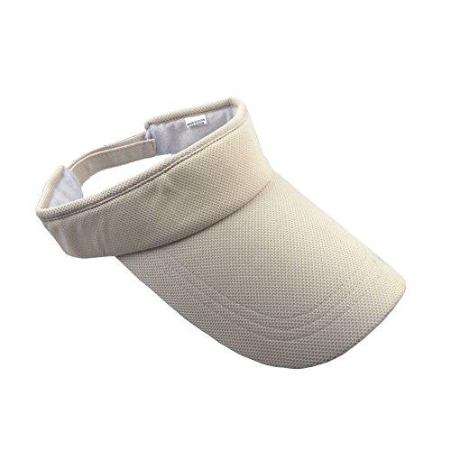 ZYHstore Unisex Sonnenblende Topless Hut Sommer Mütze Outdoor Sportarten Atmungsaktiv Langer Brim Leere Top Baseball Kappe für Herren & Damen - Beige