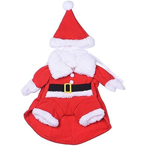 Perro trajes de invierno chaqueta de la capa de Navidad alas de ángel capa del perro traje de Santa Claus para perros pequeños - tamaño XL