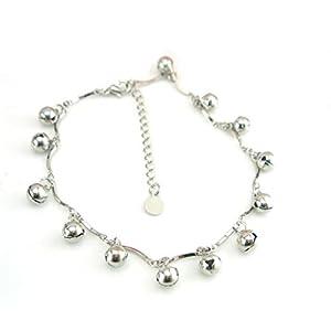 Boowhol Unisex Glocke Freundschaft Fußkettchen Fußkette Armbänder Verstellbar 925 Sterling Silber