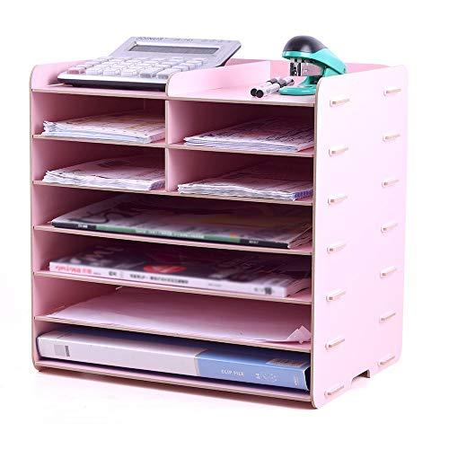 Desktop Office-Dateihalter Wood File Tray 7 Tier Schreibtisch Organizer Desktop Brief Tray Organizer Dateien und Ordner Tray Papierstapelbehälter (Farbe : A, Größe : 34X25X33CM) (Tray Schreibtisch-tier)