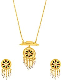 Voylla Traditional Alloy With Yellow Gold Plated Pearl Beads Necklace Sets For Women - B077MBXWVS