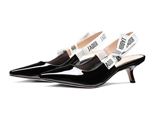 OL Pompes Wedding Pointed Peep Toe Kitten Low Heel Sling Retour Femmes élégantes Casual Date Chaussures UE Taille 34-40 black1
