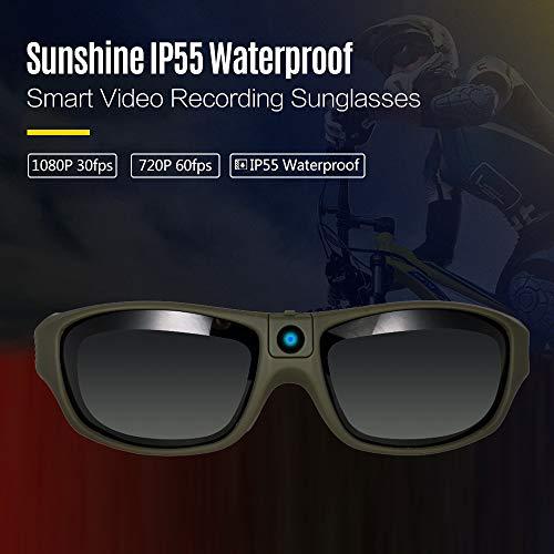 TPOTOO Sunshine IP55 wasserdichte Smart VideoAufnahmeSonnenbrille 1080P FHD SportActionKamera für den Außenbereich mit 32 GB TFKarte Polarisierter UVSchutz Sicherheitslinsen Sport Design