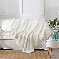 "Reafort Ultra Soft Single Layer Sherpa Oversized Throw Blanket (Cream, 60""X70"" Single Layer)"