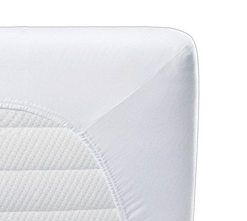 biberna 0802760/001/142/001 Atmungsatkives Molton Spannbetttuch, wasserundurchlässig, nach Öko-Tex Standard 100, circa 90 x 200 cm, weiß