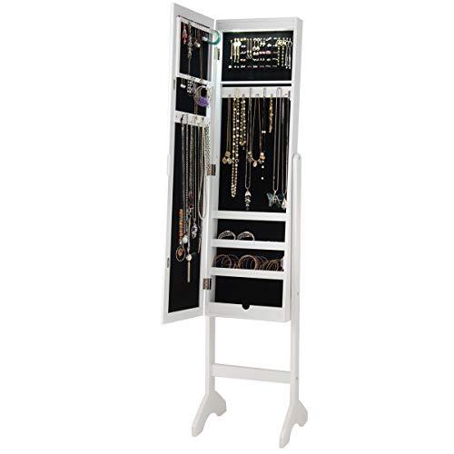 GOPLUS Schmuckschrank Stehend, Schmuckaufbewahrung Weiß, Spiegelschrank mit LED Beleuchtung, Schmuckregal aus Holz, Standspiegel 153x36x33cm