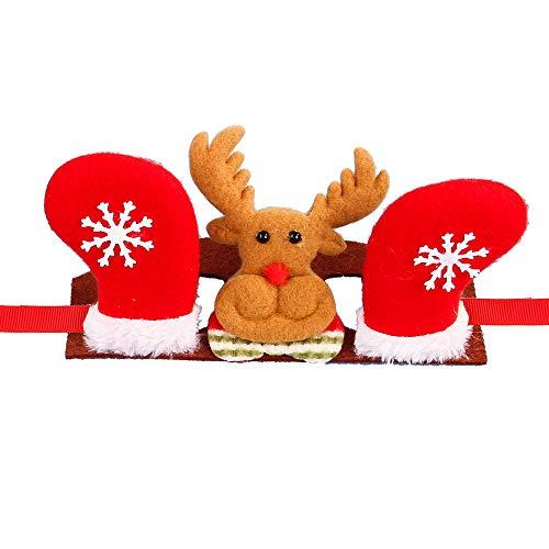 NIBESSER Haustier Kopfbedeckung Weihnachten Elch Krone Schneemann Geweih Weihnachtsmann Haarreif Weihnachtsmütze Nikolausmütze für Hund Katze Kostüm Zubehör Stirnband mit Blumen