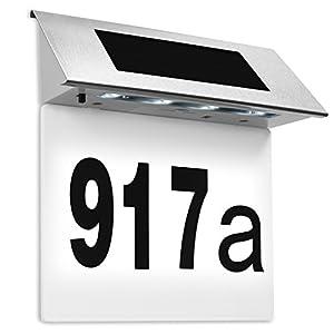 Solarhausnummer Edelstahl mit 4 starken LEDs beleuchtet weiß - LED Solarleuchte Solar Hausnummer Außenwandleuchte Hausnummernleuchte Wandleuchte - Farbauswahl