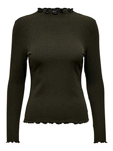 ONLY NOS Damen ONLEMMA L/S HIGH Neck TOP JRS Langarmshirt, Grün Forest Night, X-Small (Herstellergröße: XS)