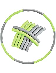 EVER RICH ® FitnessWave Weighted 1.2kgs Fitness Exercise Hula Hoop - GREEN/Grey (GRAY & Green)