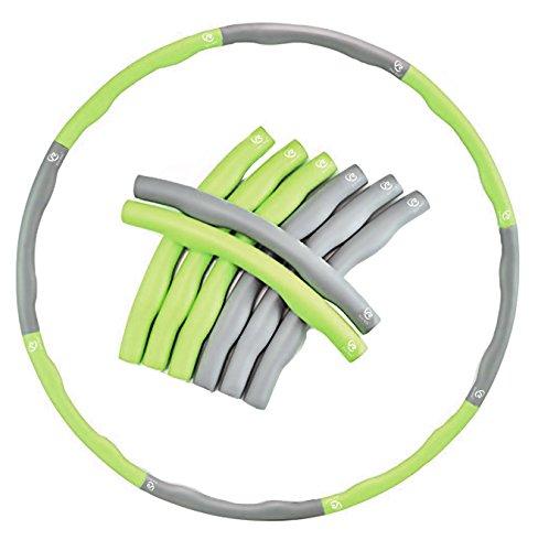 Ever Rich, hula hoop zavorrato FitnessWave per esercizi di fitness, 1,2 kg, verde/grigio (grigio e...