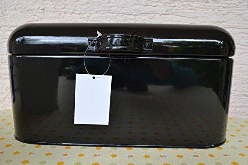 Brotkasten - schicker praktischer Brotkasten aus Metall beschichtet - in schwarz mit Griff und Deckel, aus Metll, Länge 30 cm