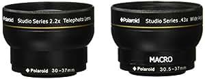 Kit de voyage Objectif grand angle haute définition .43x 30/30.5/43/37 mm de Polaroid Studio Series avec fixation macro + Téléobjectif haute définition 2.2x de Polaroid Studio Series, inclut les housses d'objectif et les couvercles d'objectif