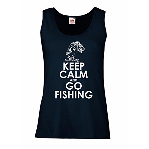 Camisetas sin Mangas para Mujer Ropa de Pesca, Regalo Gracioso Pescador, Citas de Humor (Large Azul